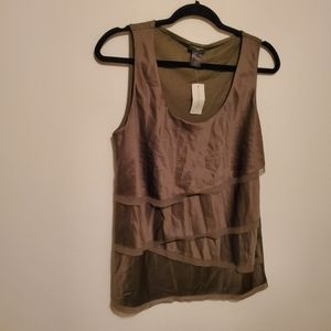 Ann Taylor NWT olive tiered dress tank size large